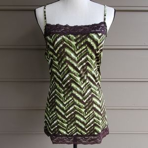 Green and Brown Chevron Camisole